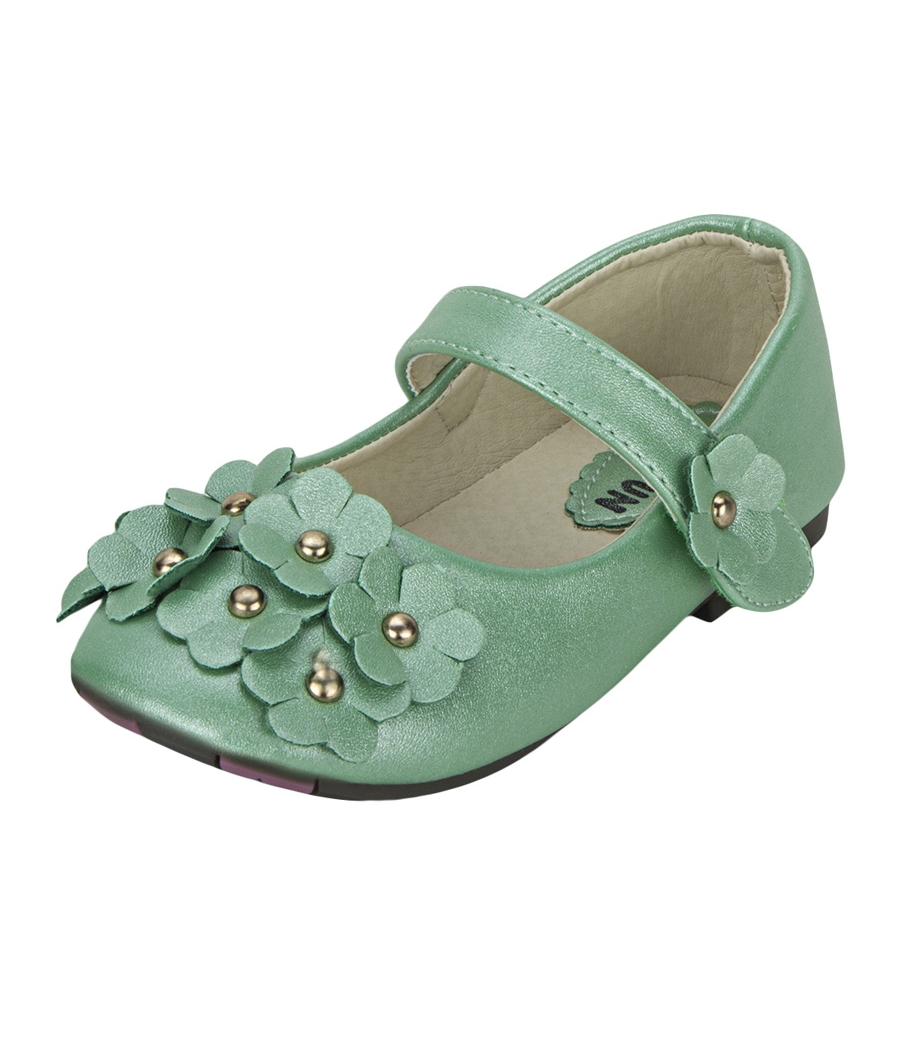 Joy n Fun Shiny Leather Front Strap Decorated Green Party Wear Shoes for Baby Girls