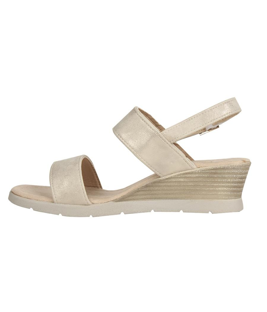Estatos PU Beige Coloured Buckle Closure Sandals