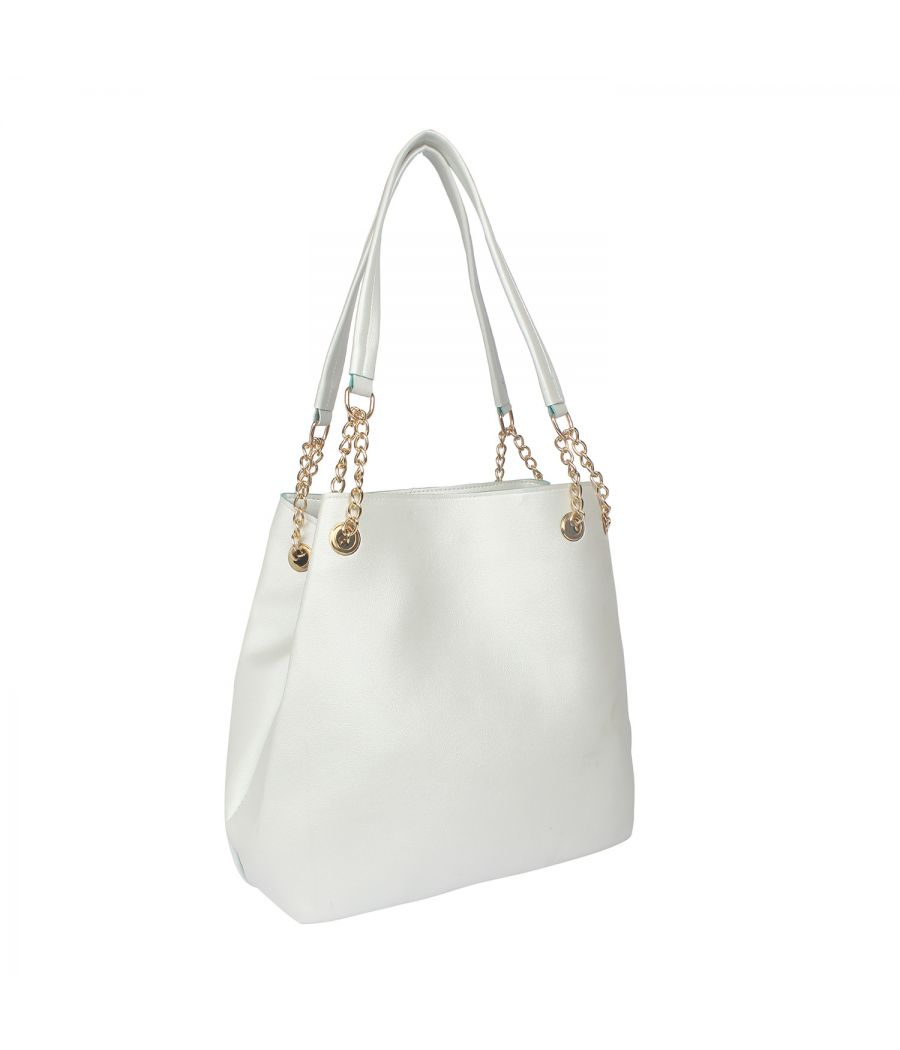 Aliado White Artificial Leather Tuck Lock Closure Handbag