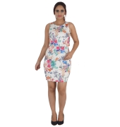Dorothy Perkins Crepe Floral Print Sleeveless Round Neck Bodycon Dress