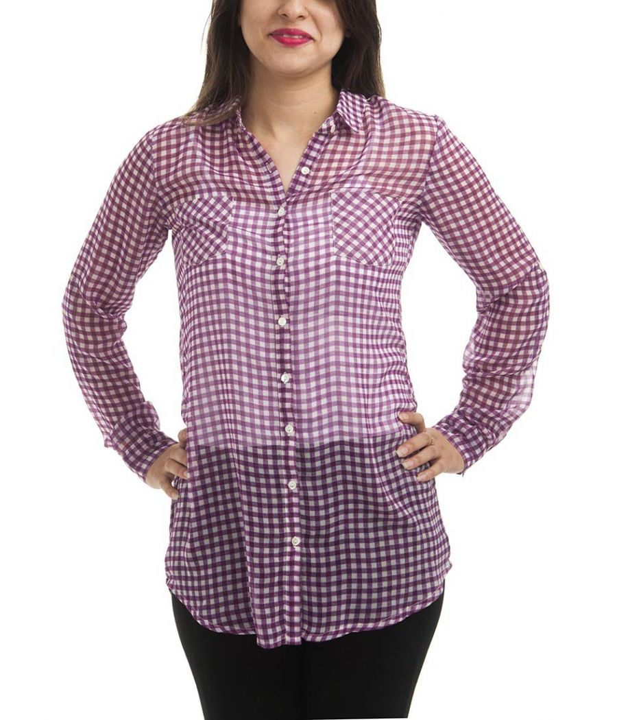 Fame Forever Georgette Checkered White & Purple Full Sleeves Button Closure Casual Shirt