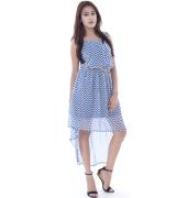 Blue & White Monochrome High Low Dress