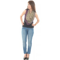 Cotton Blend Floral Printed Purple/Multi Scarf