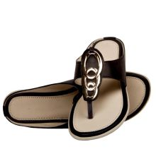 Rudra Collection Synthetic Leather Black Open Toe T Strap Flip Flop