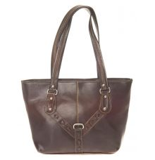 Aliado Faux Leather Coffee Solid Brown Zipper Closure Tote Bag