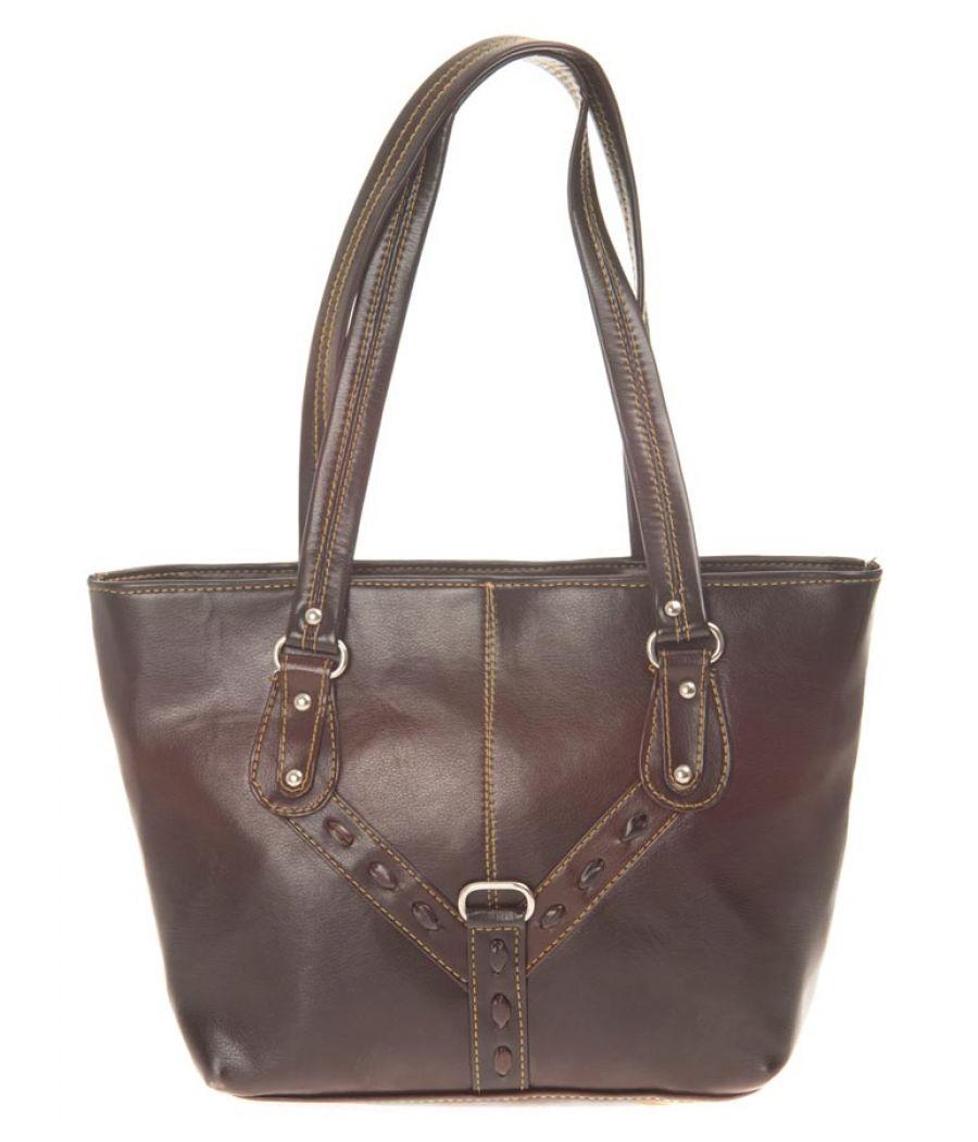 Aliado Faux Leather Coffee Solid Brown Zipper Closure Tote Bag