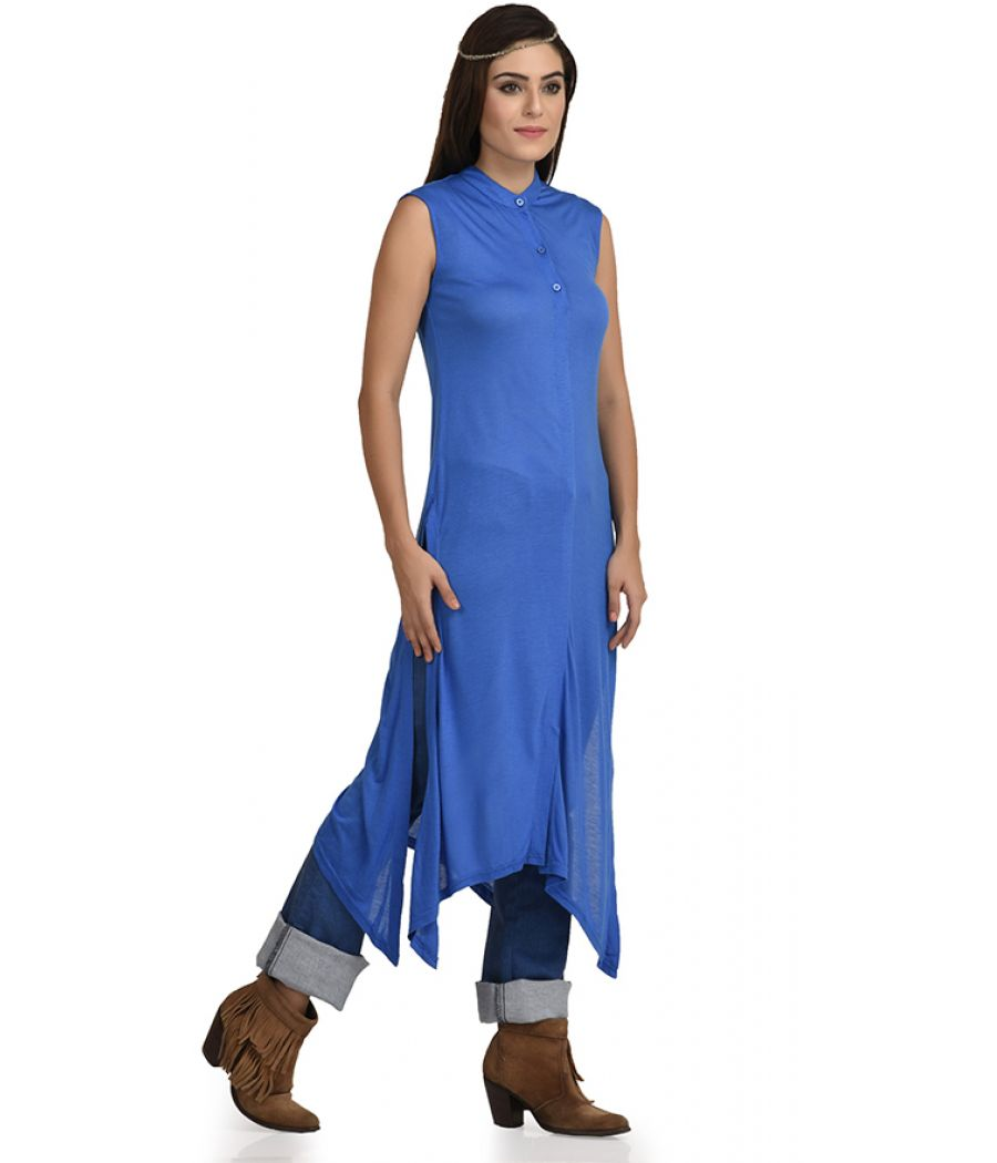 Estance Jersey Solid Asymmetric Blue Maxi Top