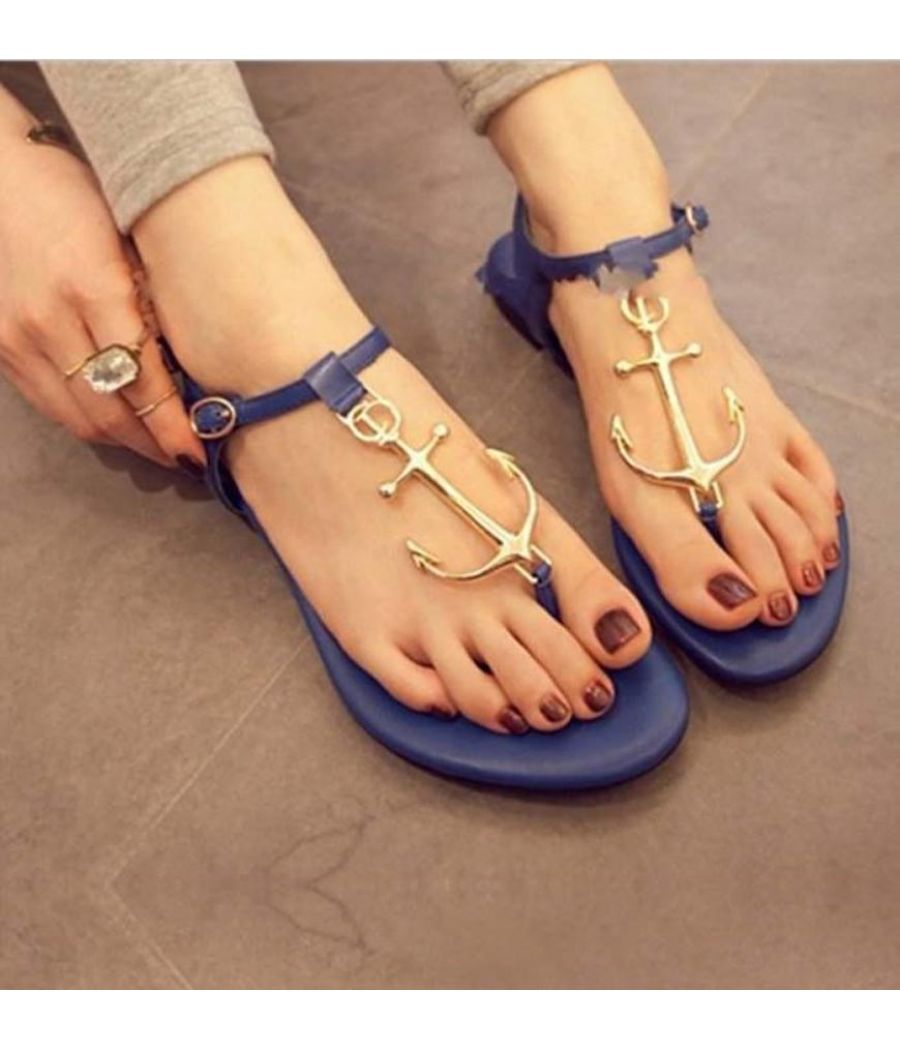 Estatos Synthetic  Leather Buckle Closure T Strap Blue Flat Sandals