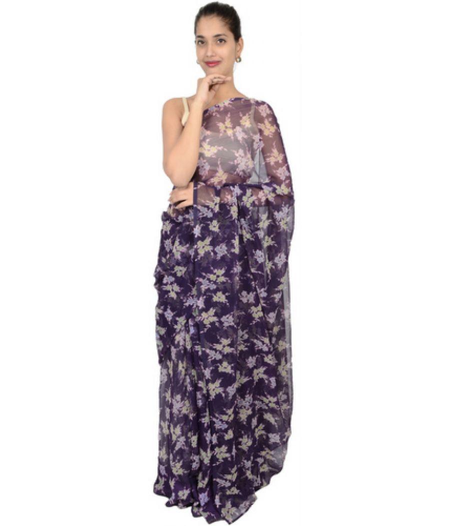 Etashee Certified Purple Floral Saree