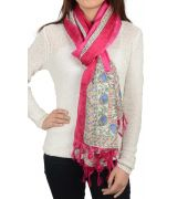 Etashee Certified Fuchsia Pink Stole with White printed taping
