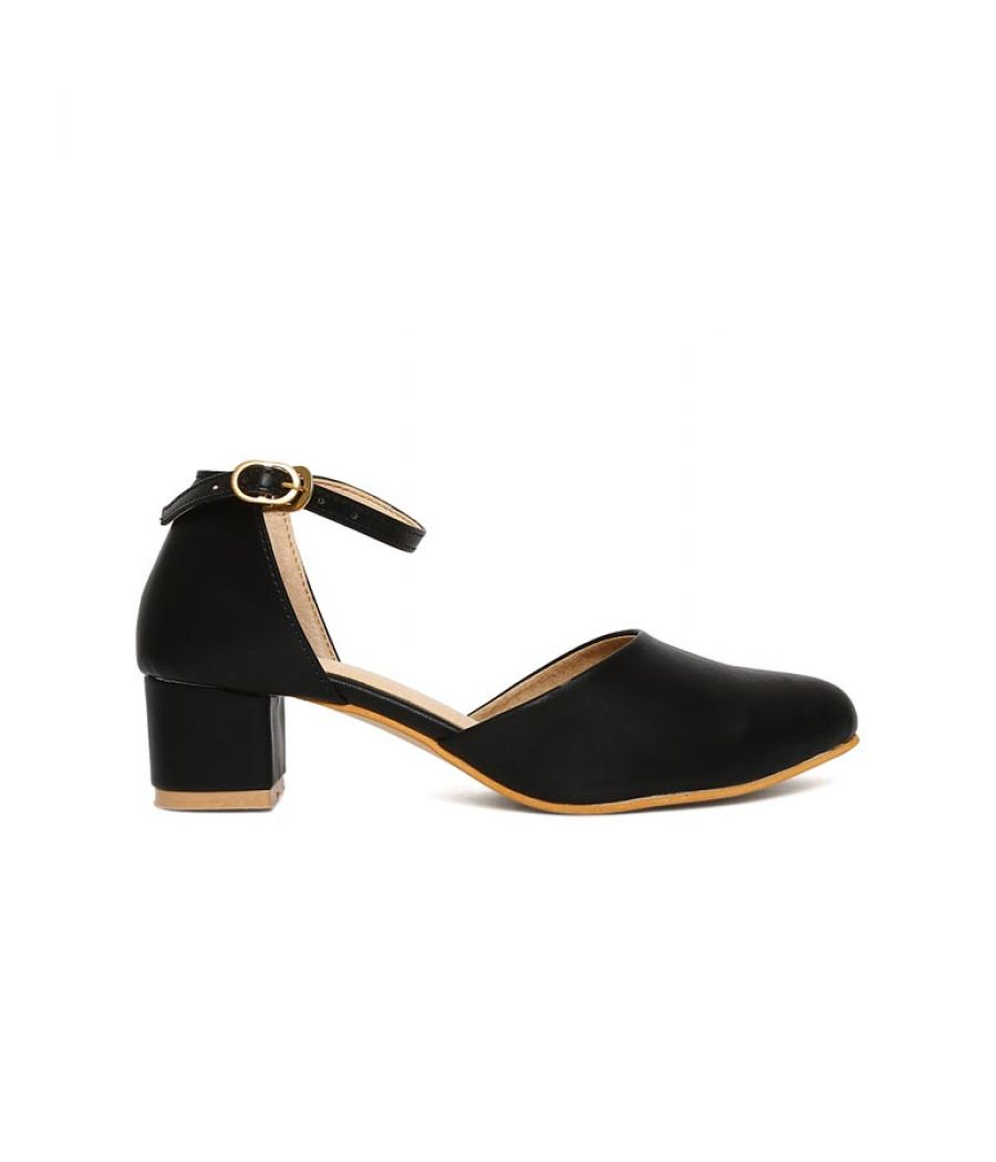 Estatos Broad Toe Black Comfortable Block Heel Buckle Closure Sandals  for Women