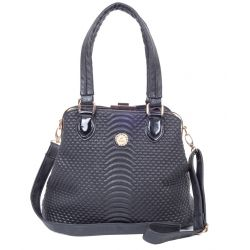 Arcad Black Textured Handbag