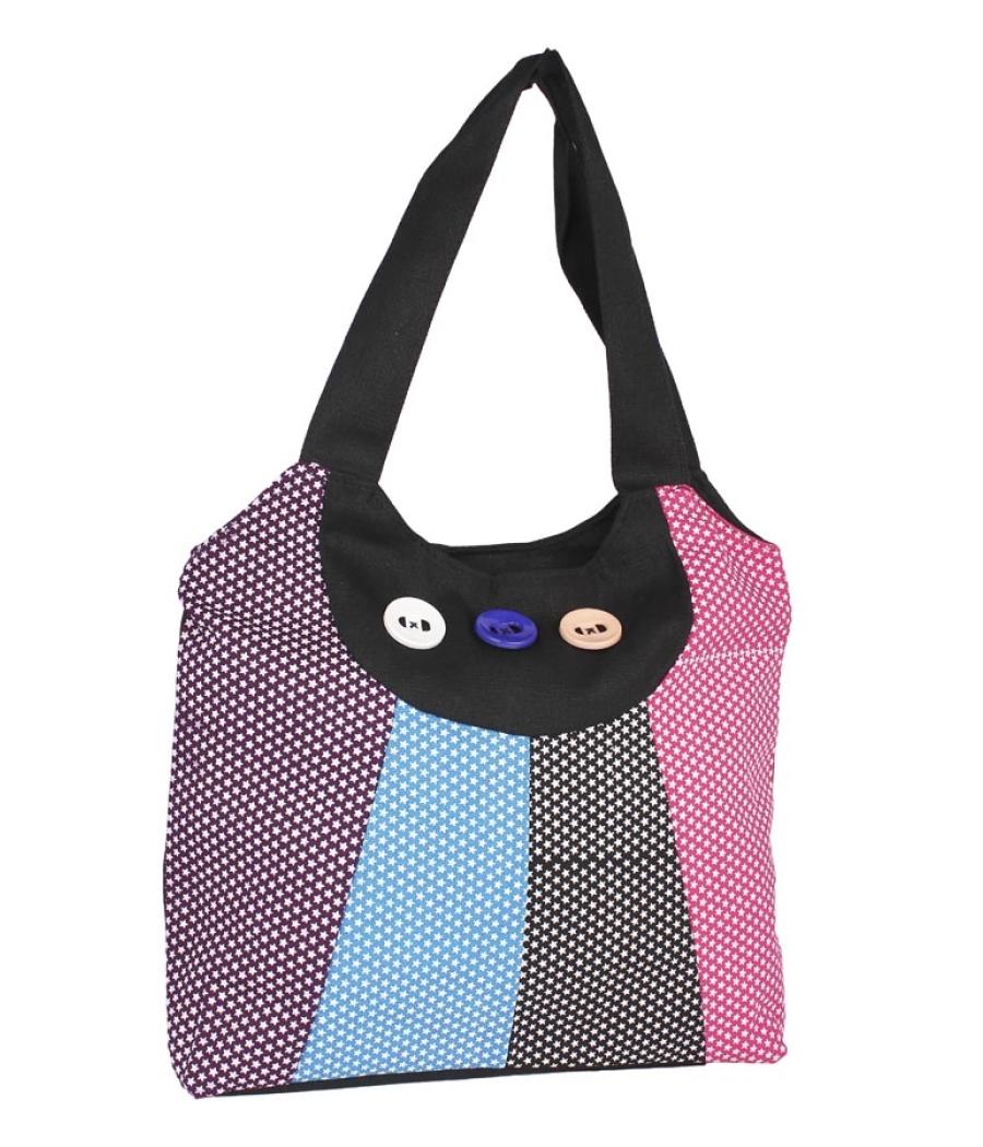 Aliado Cotton Black and Multi Colour Zipper Closure Printed Handbag