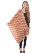 Sanida Woollen Check Brown/Orange Shawl