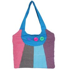 Aliado Cloth Fabric Blue and Multi  Coloured Zipper Closure  Handbag