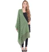 Sanida Woollen Check Black/Green Shawl