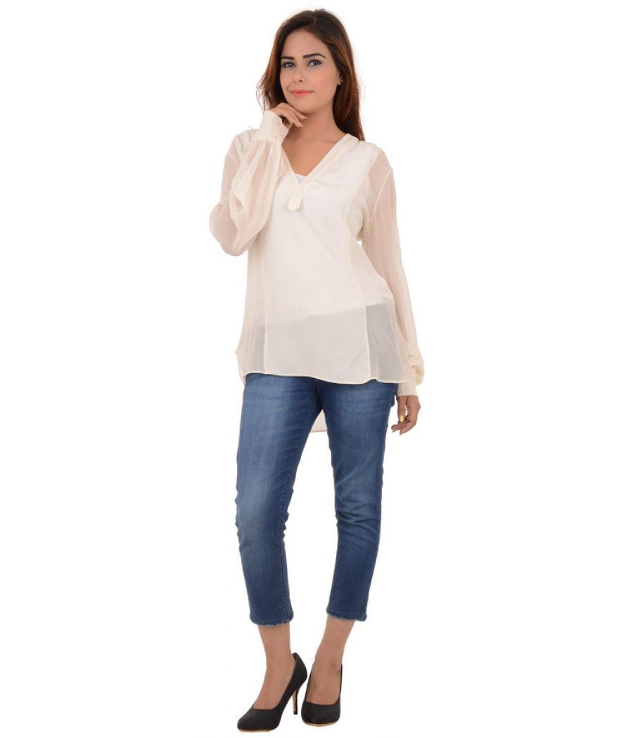 Zara Women Cream Hi-Low Top