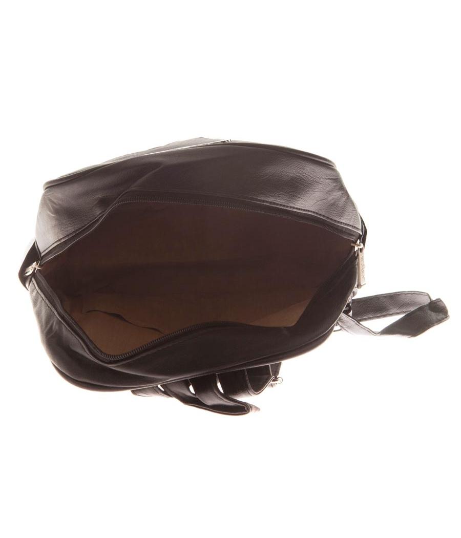 Aliado Faux Leather Black Zipper Closure Embellished Backpack
