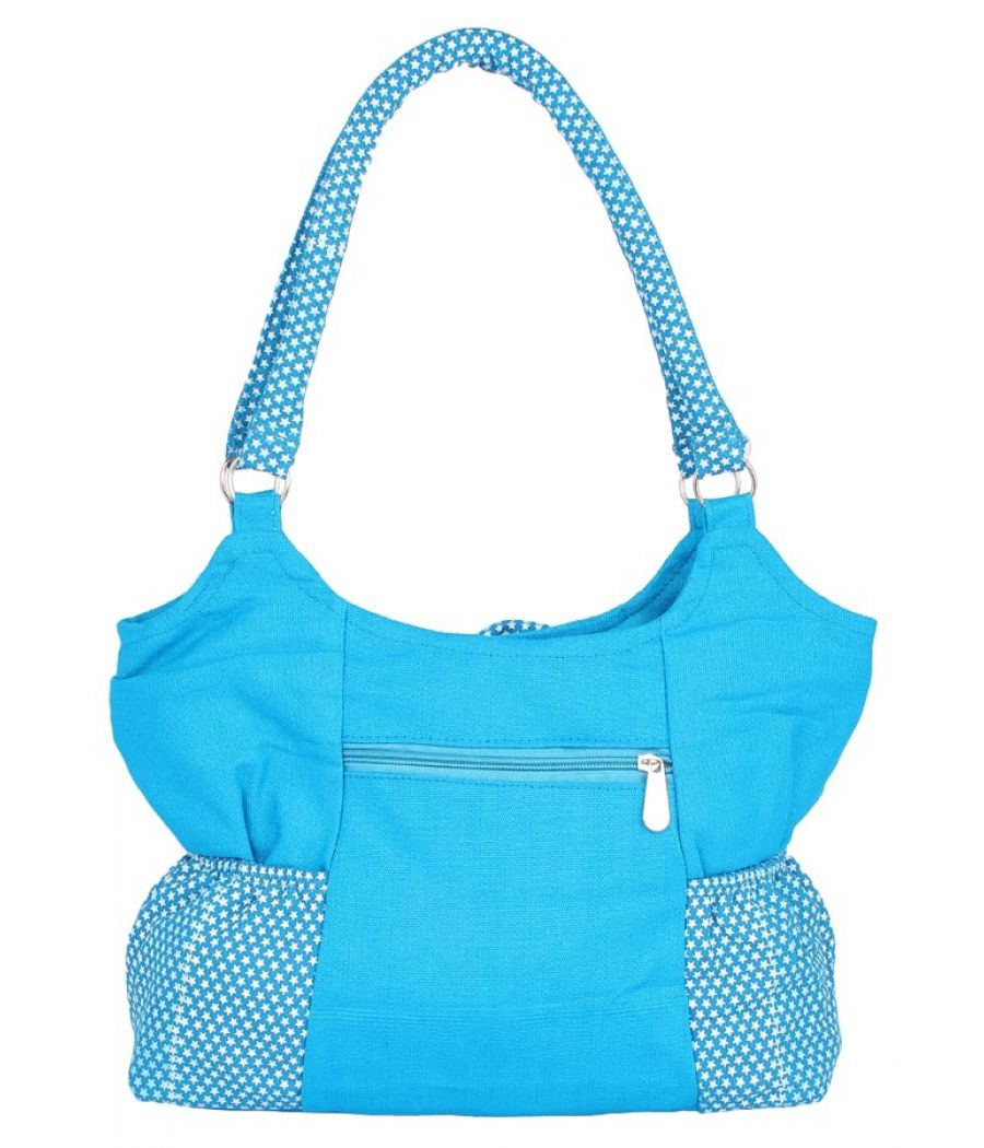 Aliado Cloth Fabric Blue  Coloured Zipper Closure  Handbag