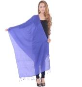 Sanida Silk Wool Plain Blue Shawl