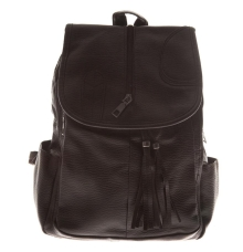 Aliado Faux Leather Solid Black Magnetic Snap Backpack