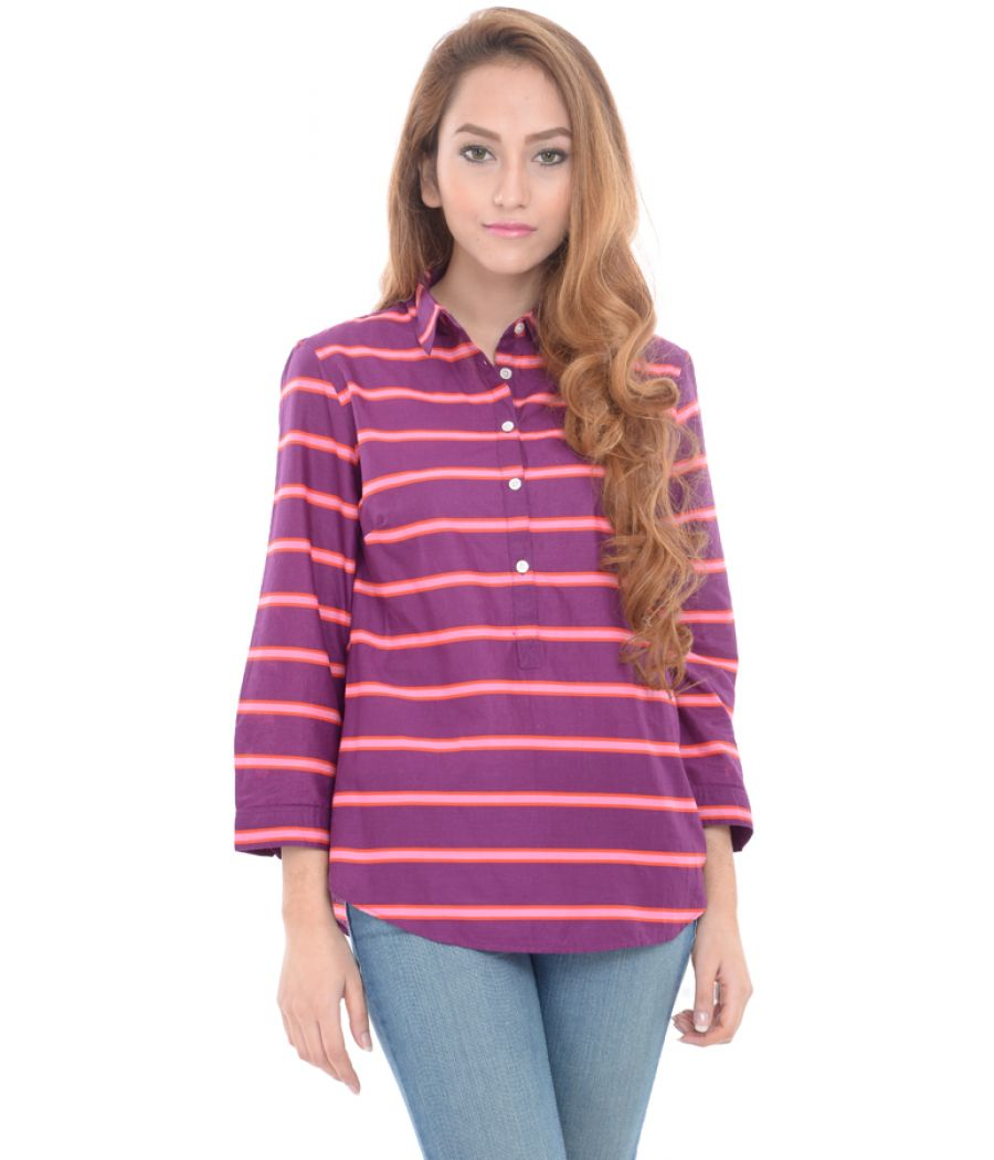 Lands End Purple Horizontal Striped Collared Top