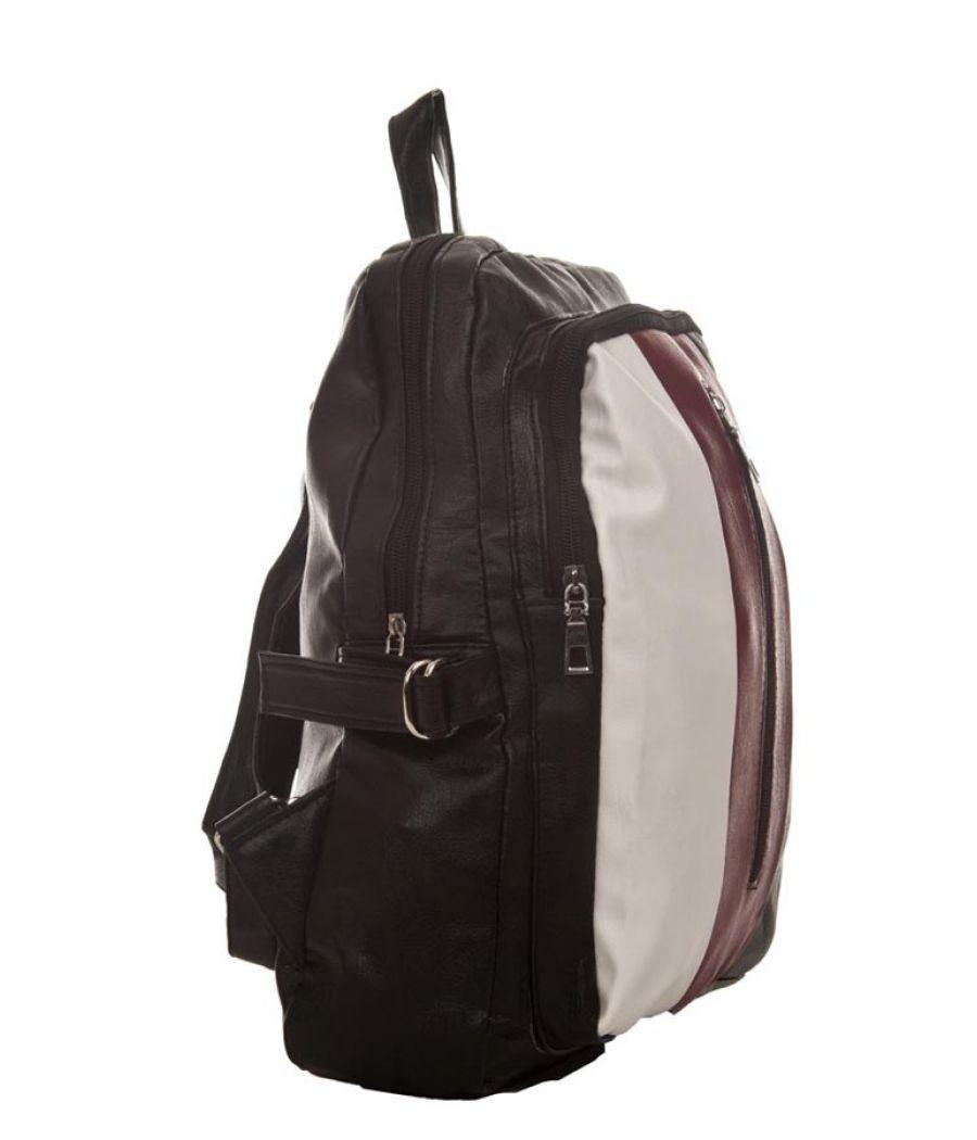 Aliado Faux Leather Black Coloured Zipper Closure Backpack
