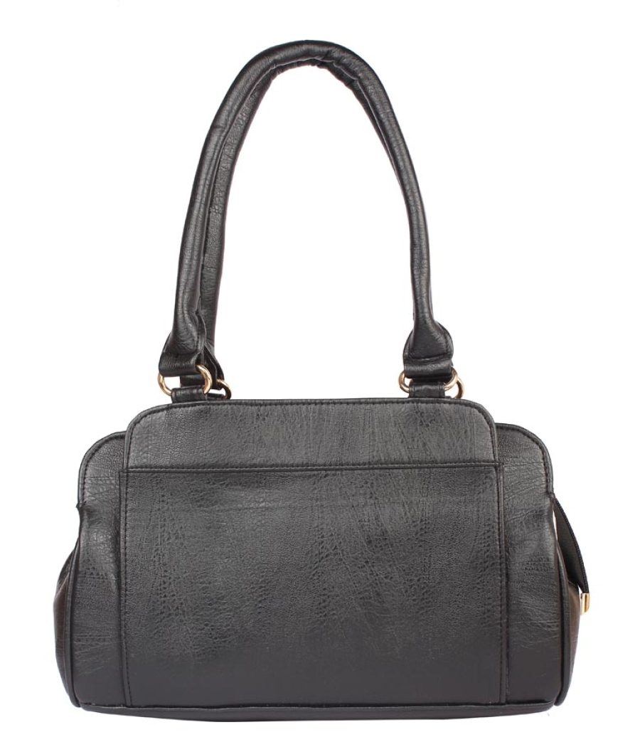 Aliado Faux Leather Black            Coloured Zipper Closure Tote Bag