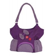 Aliado Cotton Purple Colour Zipper Closure Printed Handbag