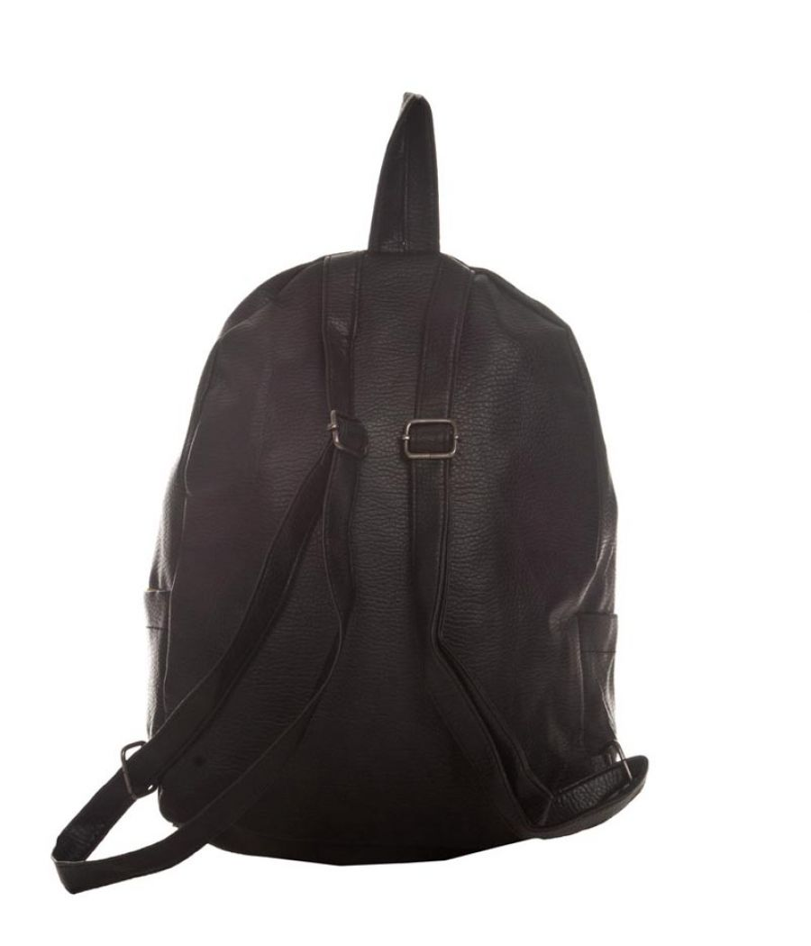 Aliado Faux Leather Solid Black Zipper Closure Stylish Backpack