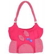 Aliado Cloth Fabric Pink and White  Coloured Zipper Closure  Handbag