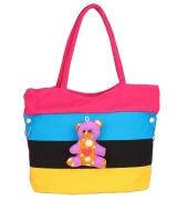 Aliado Cloth Fabric Pink and Multi  Coloured Zipper Closure  Handbag