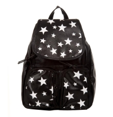 Aliado Faux Leather Printed Black Zipper Closure Stylish Backpack