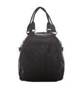 Aliado Faux Leather Solid Black Zipper Closure Stylish Backpack