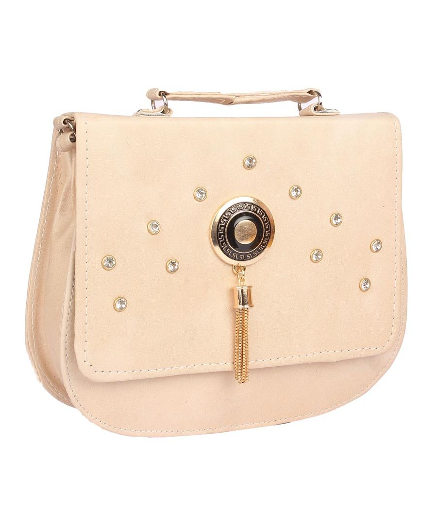 Envie Faux Leather Cream Embellished Magnetic Snap Crossbody Bag