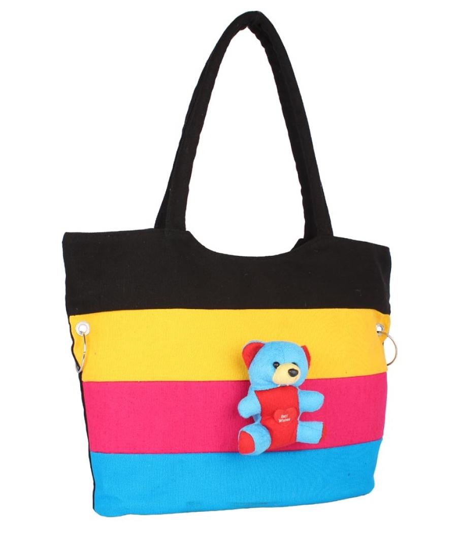 Aliado Cloth Fabric Black and Multi Coloured Zipper Closure  Handbag