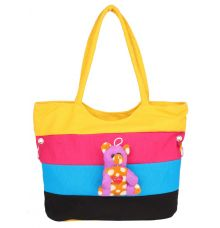 Aliado Cloth Fabric Yellow and Multi Coloured Zipper Closure  Handbag