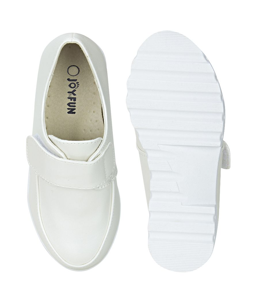 Joy n Fun Shiny Leather Broad Toe Comfortable White Sole Strap Velcro Closure Party Wear White Shoes for Boys/ Kids