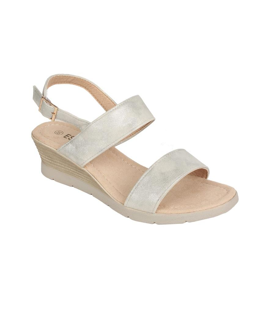 Estatos PU Silver Coloured Buckle Closure Open Toe Wedges