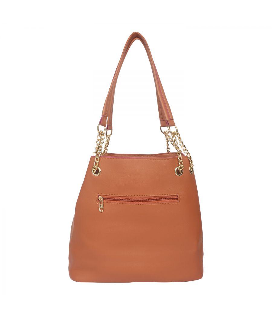 Aliado Brown Artificial Leather Tuck Lock Closure Handbag