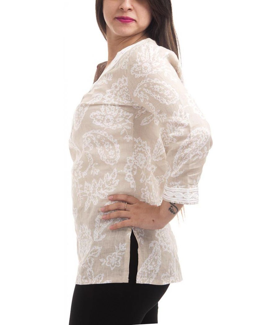 Designer Collection Cotton Paisley Print Off White & Beige Casual Top