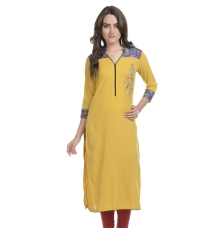 Floral Embroidered Yellow Kurta