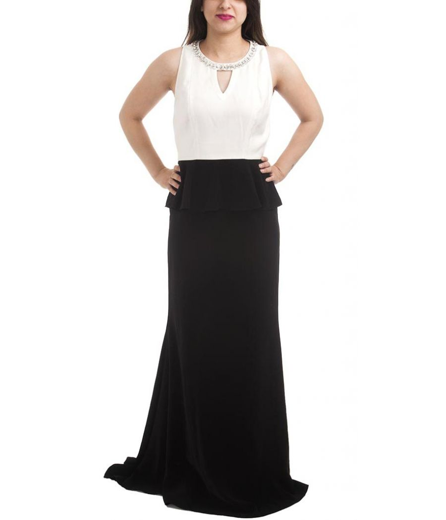 Cherie D Polyester Solid Black & White Sleeveless Stone Embellished Maxi Gown