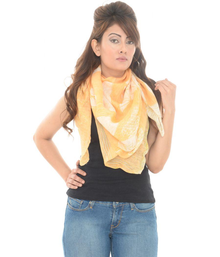 Beck Sonder Gaard Cotton/Silk Printed Orange Scarf