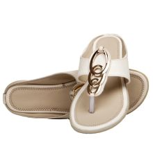 Rudra Collection Synthetic Leather Cream Colour T Strap Open Toe Flip Flop