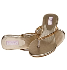 SLN Synthetic Leather Beige V Strap Flat Heel Casual Flip Flop