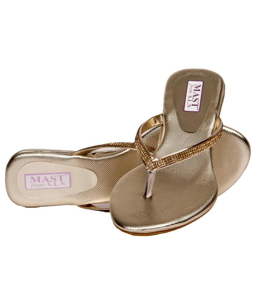 SLN Synthetic Leather Beige V Strap Flat Heel Casual Flip Flop