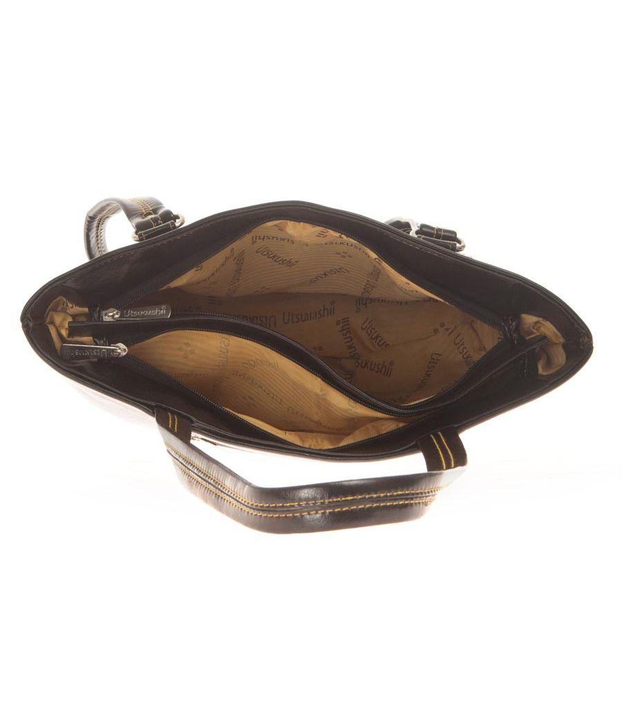 Aliado Faux Leather Solid Black Zipper Closure Tote Bag