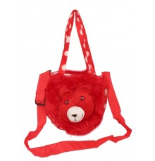 Envie Faux Fur    Red  Coloured Zipper Closure  Sling   Bag