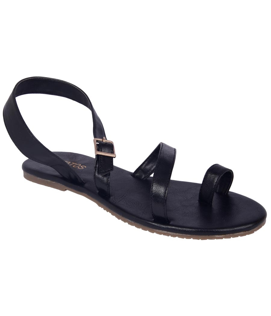 Estatos Black Colour Synthetic Leather Multi Strap Open Toe     Flats